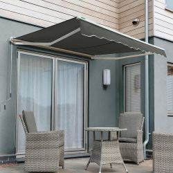3.5m Half Cassette Electric Awning, Charcoal
